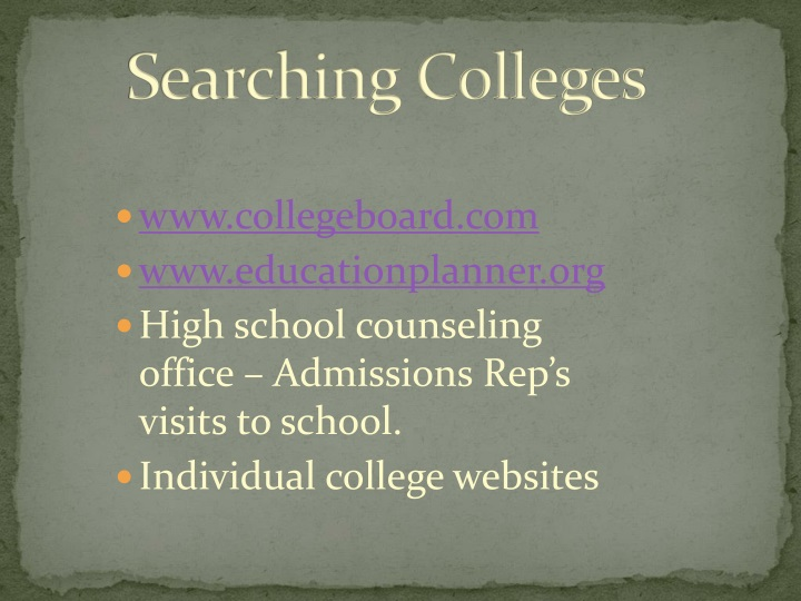 Searching Colleges