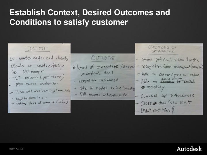 Establish Context, Desired Outcomes and Conditions to satisfy customer