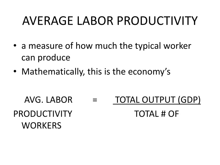 AVERAGE LABOR PRODUCTIVITY