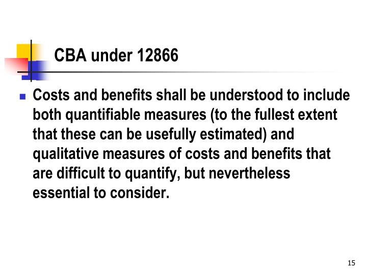 CBA under 12866