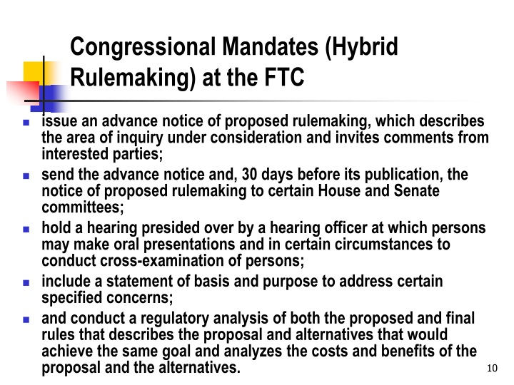 Congressional Mandates (Hybrid Rulemaking) at the FTC