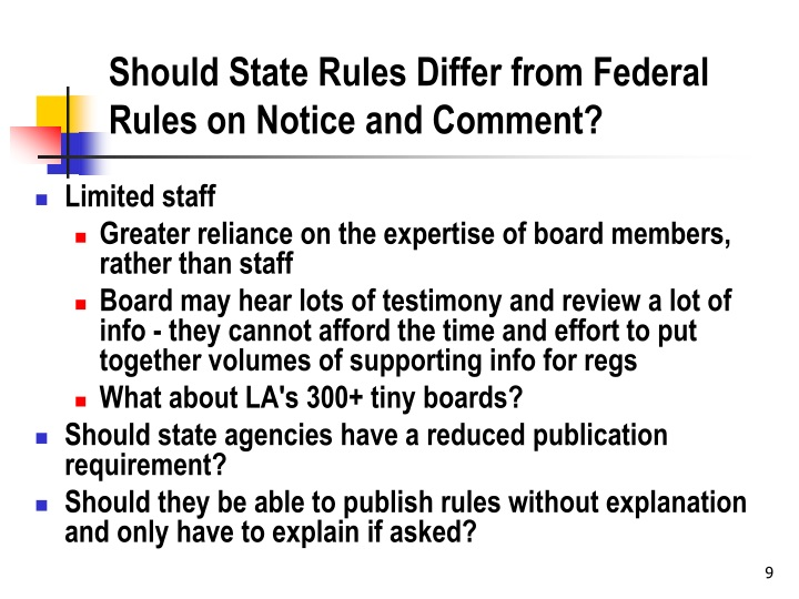 Should State Rules Differ from Federal Rules on Notice and Comment?