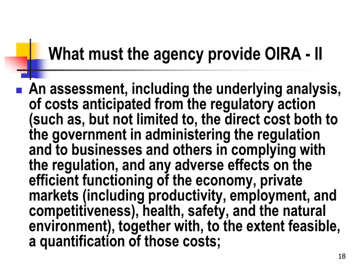What must the agency provide OIRA - II
