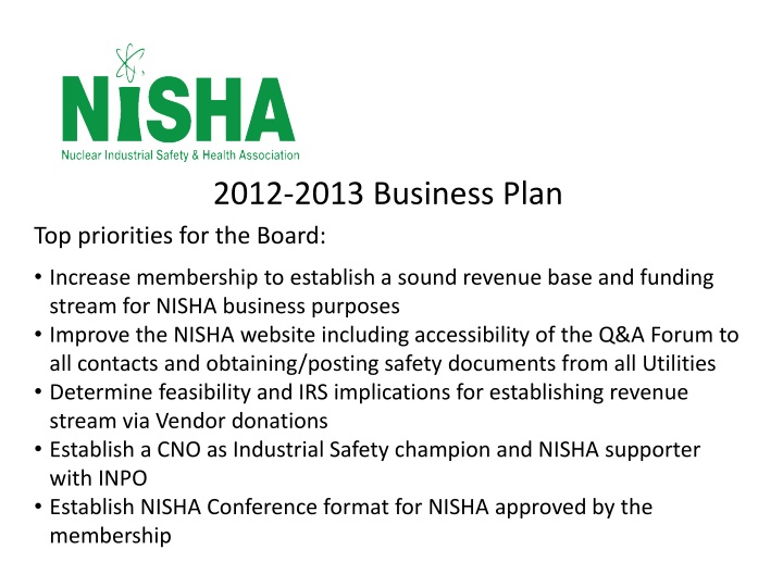 2012-2013 Business Plan