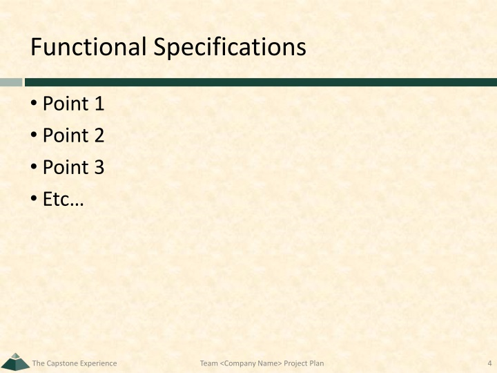 Functional Specifications