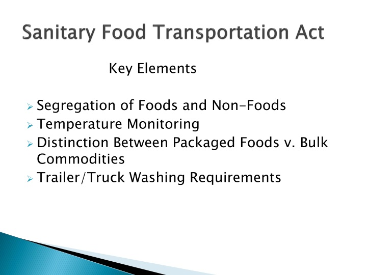 Sanitary Food Transportation Act
