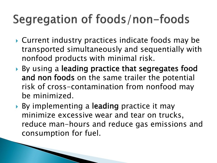 Segregation of foods/non-foods