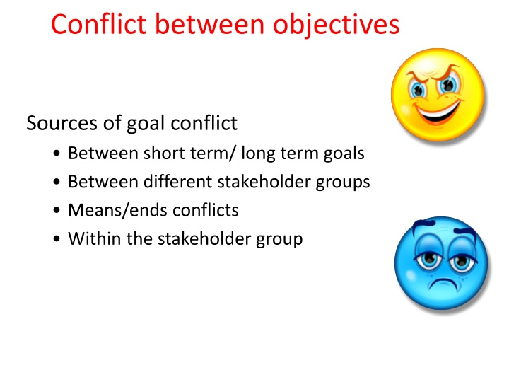 Conflict between objectives