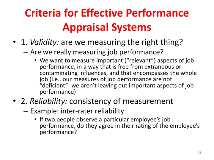 Criteria for Effective Performance Appraisal Systems