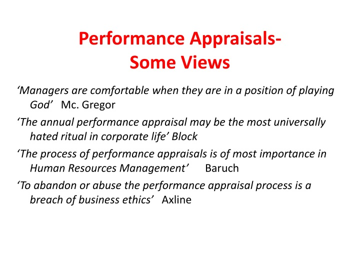 Performance Appraisals-