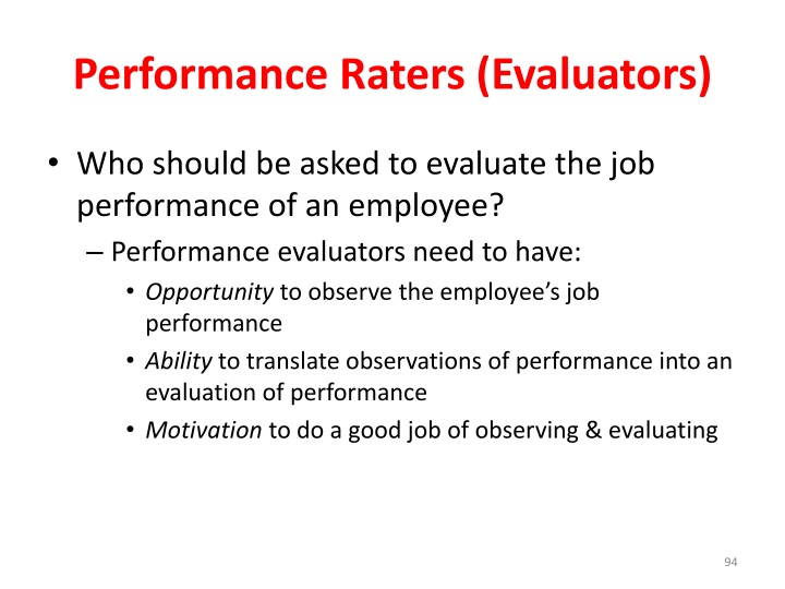 Performance Raters (Evaluators)