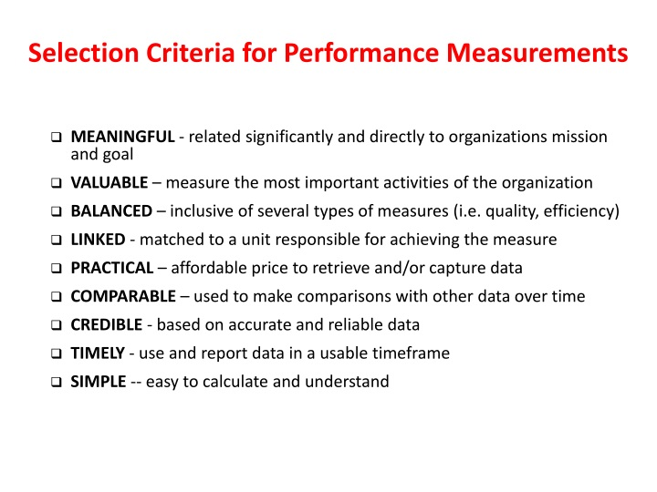 Selection Criteria for Performance Measurements