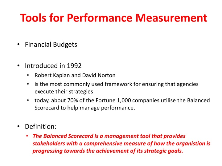 Tools for Performance Measurement