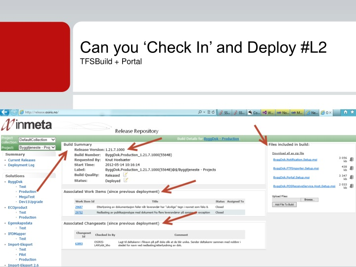 Can you 'Check In' and Deploy #