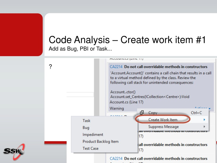 Code Analysis – Create work item #1