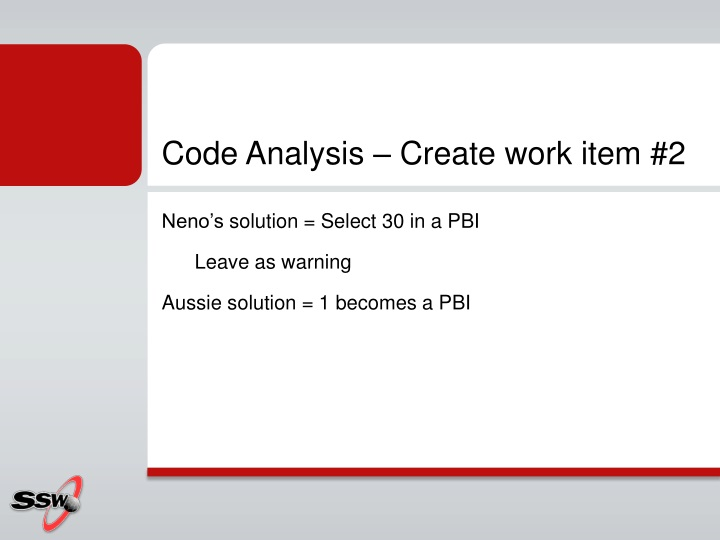 Code Analysis – Create work item #2