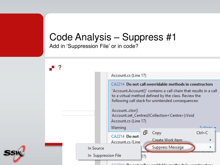 Code Analysis – Suppress