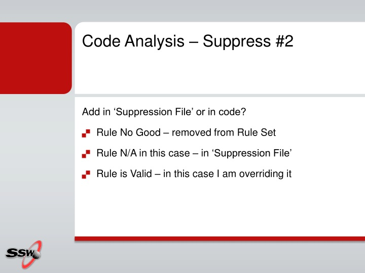 Code Analysis – Suppress #2