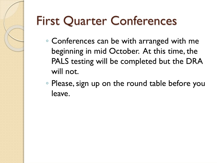 First Quarter Conferences