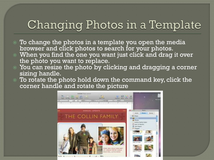 Changing Photos in a Template