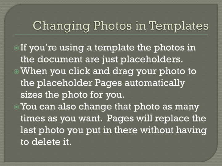 Changing Photos in Templates