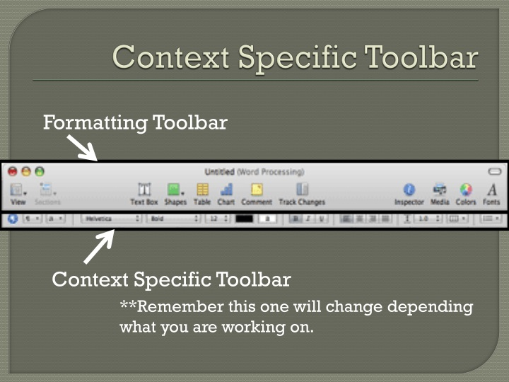 Context Specific Toolbar