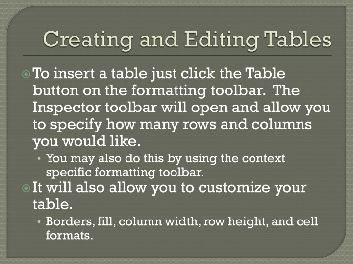 Creating and Editing Tables
