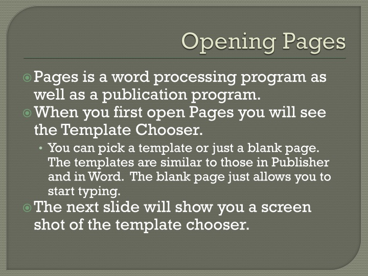 Opening Pages