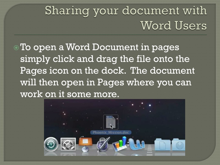 Sharing your document with Word Users