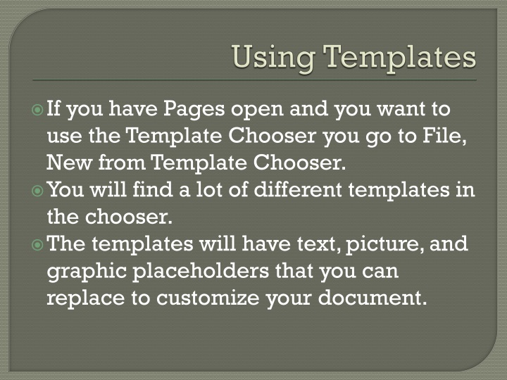 Using Templates