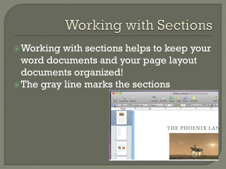Working with Sections