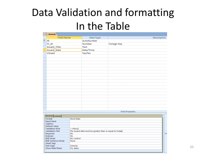 Data Validation and formatting