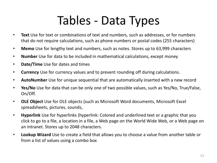 Tables - Data Types