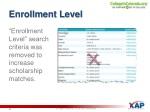 enrollment level