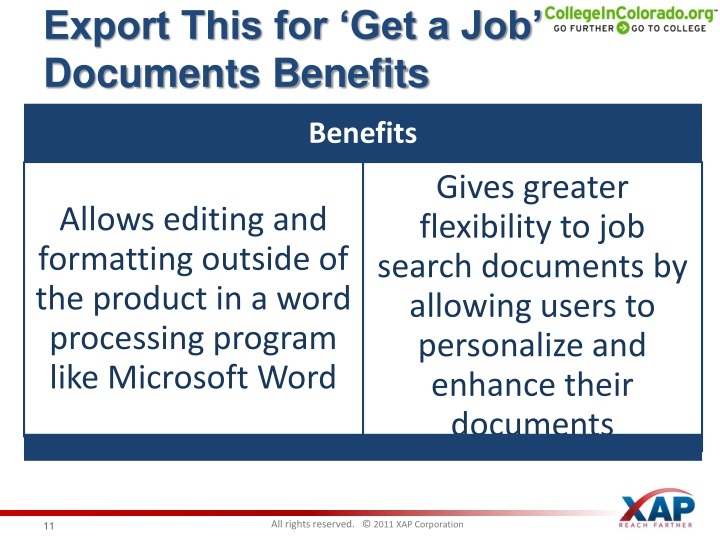Export This for 'Get a Job' Documents Benefits