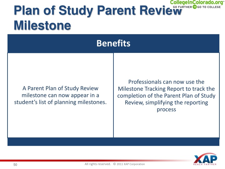 Plan of Study Parent Review Milestone
