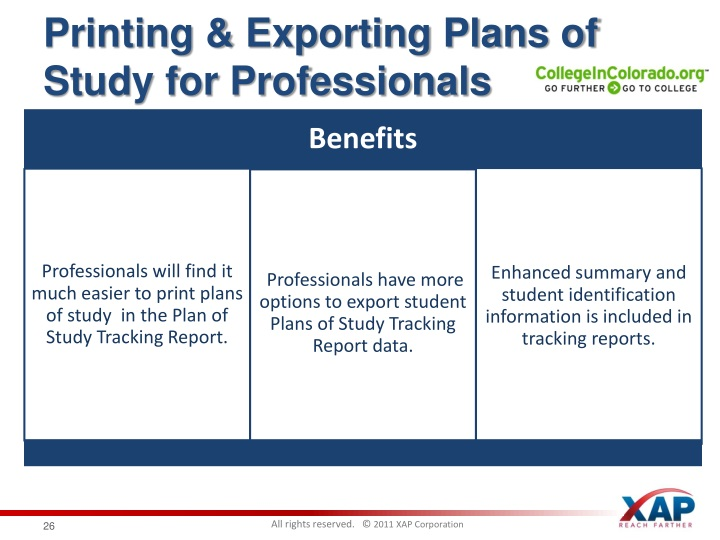 Printing & Exporting Plans of Study for Professionals