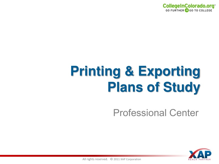 Printing & Exporting      Plans of Study