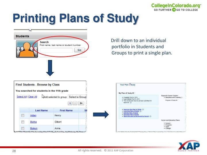 Printing Plans of Study