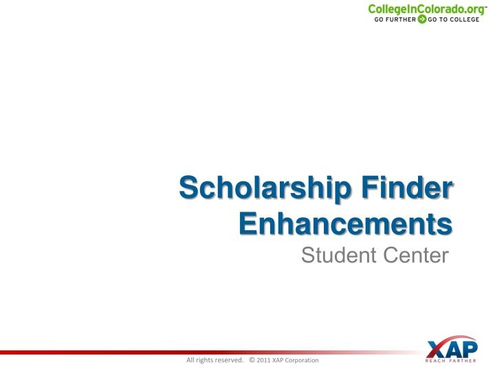 Scholarship Finder Enhancements