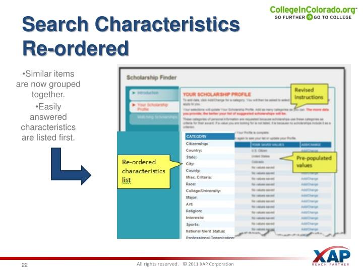 Search Characteristics