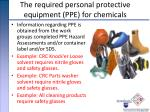 the required personal protective equipment ppe for chemicals