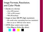 image formats resolution and color mode