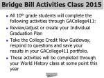 bridge bill activities class 2015