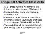 bridge bill activities class 2016