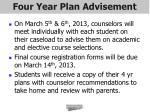 four year plan advisement