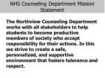 nhs counseling department mission statement