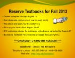 reserve textbooks for fall 2013
