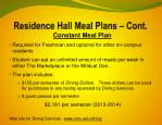 residence hall meal plans cont