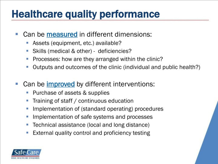 Healthcare quality performance